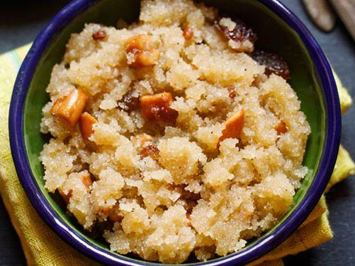 suji halwa in a bowl